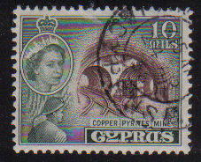 Cyprus Stamps SG 176 1955 QEII  10 Mils - USED (e361)
