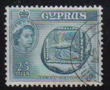 Cyprus Stamps SG 179 1955 QEII  25 Mils - USED (e367)