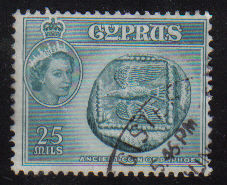 Cyprus Stamps SG 179 1955 QEII  25 Mils - USED (e368)