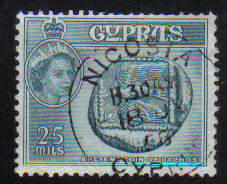 Cyprus Stamps SG 179 1955 QEII  25 Mils - USED (e369)