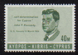 Cyprus Stamps SG 257 1965 40 Mils John F Kennedy - MINT