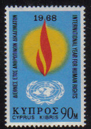 Cyprus Stamps SG 317 1968 90 Mils Human Rights Year - MINT