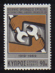 Cyprus Stamps SG 328 1969 90 Mils International Labour Organisation - MINT
