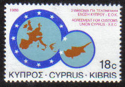 Cyprus Stamps SG 717 1988 18 cent EEC Customs union - MINT