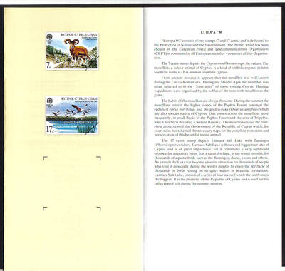 Cyprus Stamps Leaflet 1986 Issue No 2 Europa