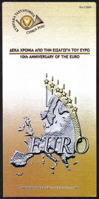 Cyprus Stamps Leaflet 2009 Issue No: 1 10th Anniversary of the Euro