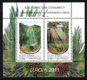 North Cyprus Stamps SG 0727 MS 2011 Europa Forests - MINT