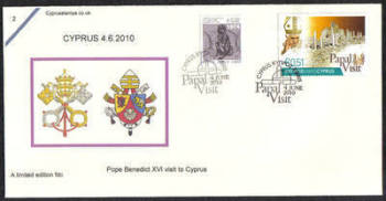 Cyprus Stamps SG 1221 2010 Pope Benedict XVI Visit to Cyprus Pope Benedict XVI Visit to Cyprus - Cachet Unofficial FDC (c849)