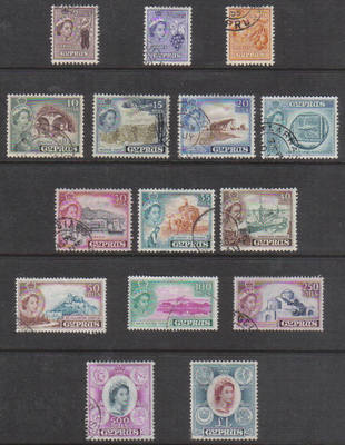 Cyprus Stamps SG 173-87 1955 Queen Elizabeth II Definitives - USED (e399)