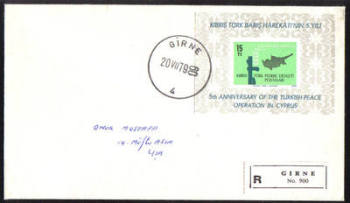North Cyprus Stamps 1979 MS 78  Cachet Slogan Registered - Unofficial FDC (e400)