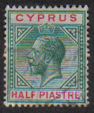 Cyprus Stamps SG 075 1912 Half Piastre - USED (e444)