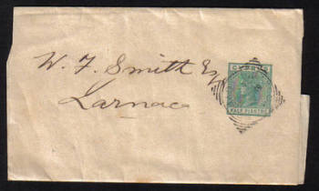 Cyprus Stamps Wrapper 1881 E2 Type Half Piastre - USED (e545)