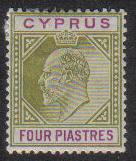 Cyprus Stamps SG 066 1905 Four Piastres - MH (e544)