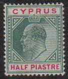 Cyprus Stamps SG 050 1902 Edward VII Half Piastre - MH (e543)