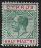 Cyprus Stamps SG 075 1912 1/2 Piastre King George V - MH (e577)
