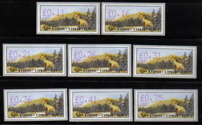 Cyprus Stamps Vending Machine Labels Type 4 1999 005 Limassol - FULL SET MI