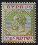Cyprus Stamps SG 079 1912 Four Piastres King George V - MLH (e616)