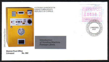 Cyprus Stamps 009 Vending Machine Labels Type A 1989 (002) Limassol 18c - Official FDC