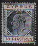 Cyprus Stamps SG 70 1904 18 Piastres - MLH (e614)