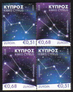 Cyprus Stamps SG 1188-89 2009 Europa Astronomy - Booklet Pane MINT