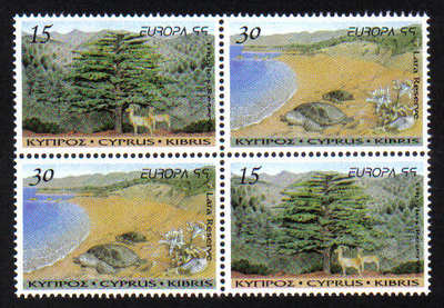 Cyprus Stamps SG 969-70 1999 Europa parks and gardens Booklet pane- MINT
