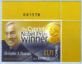 Cyprus Stamps SG 1254 2011 Christopher Pissarides Cypriot Nobel Prize Winner Control numbers - MINT