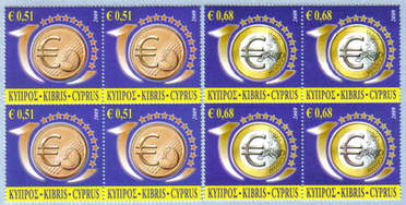 Cyprus Stamps SG 1182-83 2009 10th Anniversary of the Euro - Block of 4 MIN