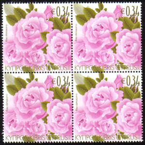 Cyprus Stamps SG 1243 2011 Aromatic Flowers Roses - Block of 4 MINT