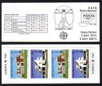 North Cyprus Stamps SG 210-11 MS 1987 (SB1) Europa Modern architecture - Booklet MINT