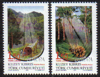 North Cyprus Stamps SG 0725-26 2011 Europa Forests  - MINT