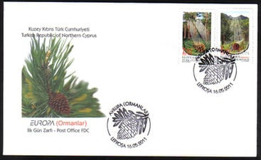 North Cyprus Stamps SG 0725-26 2011 Europa Forests  - Official FDC
