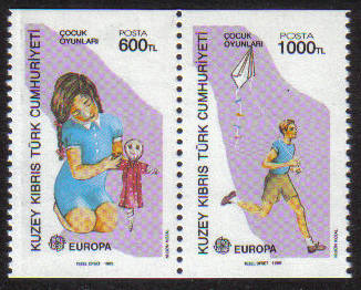 North Cyprus Stamps SG 251-02 1989 Europa Childrens Games - Booklet pair MI