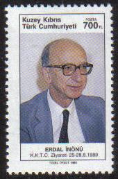 North Cyprus Stamps SG 269 1989 Visit of Professor Erdal Inonu - MINT
