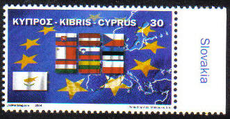 Cyprus Stamps SG 1071 2004 E.U. Admission Flags SLOVAKIA Selvedge - MINT