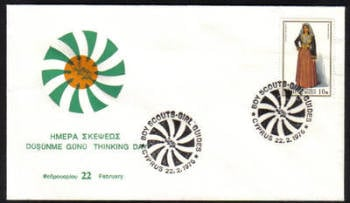 Unofficial Cover Cyprus Stamps 1976 Boy Scouts Girl Guides Good Thinking Day  - Cachet  (e824)