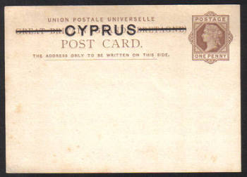 Cyprus Stamps 1880 A2 Type One Penny Victorian Postcard - Unused (e569))