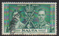 Malta Stamps SG 0214 1937 1/2 Penny - USED (e863)