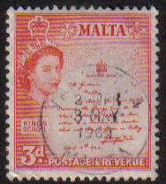 Malta Stamps SG 0272 1956 Three Penny - USED (e887)