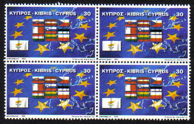 Cyprus Stamps SG 1071 2004 Europa EU Flags - Block of 4 MINT