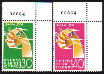 Cyprus Stamps SG 1110-11 2006 Europa Integration  - Control numbers MINT (e