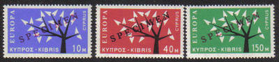 Cyprus Stamps SG 224-26 1963 Europa Tree - Specimen MINT
