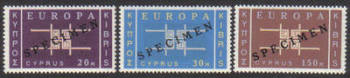Cyprus Stamps SG 234-36 1963 Europa CEPT - Specimen MINT