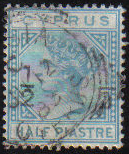 Cyprus Stamps SG 023 1882 1/2 on 1/2 - USED (e948)