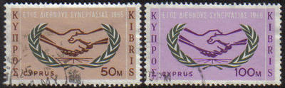 Cyprus Stamps SG 265-66 1965 International Co-operation year - USED (e942)