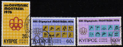 Cyprus Stamps SG 471-73 1976 Montreal Olympic Games - USED (e922)