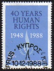 Cyprus Stamps SG 734 1988 Human rights - CTO USED (e925)