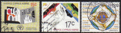 Cyprus Stamps SG 771-73 1990 Anniversaries and Events - USED (e935)
