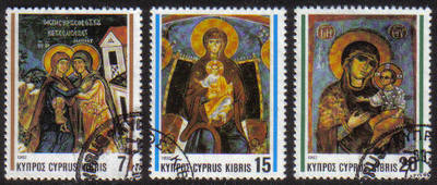 Cyprus Stamps SG 827-29 1992 Christmas Church Frescos - USED (e937)