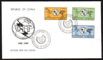 Cyprus Stamps SG 262-64 1965 ITU Centenary - Official FDC