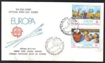North Cyprus Stamps SG 23-24 1975 Europa Paintings - Official FDC
